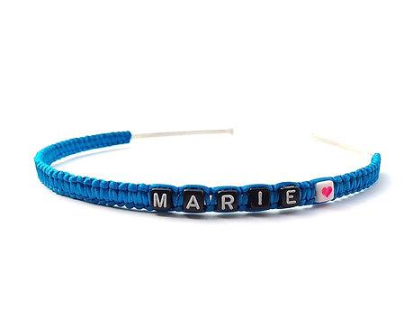 Serre Tête bandeau personnalisé avec prénom MARIE message logo texte sur mesure