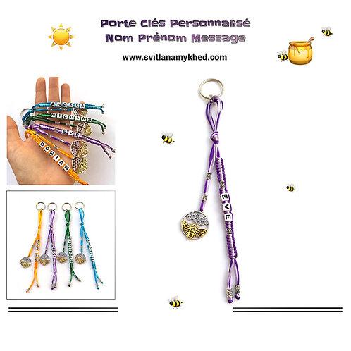 Porte clés bijoux de sac EVE ABEILLE MIEL RUCHE personnalisé avec prénom nom message logo texte
