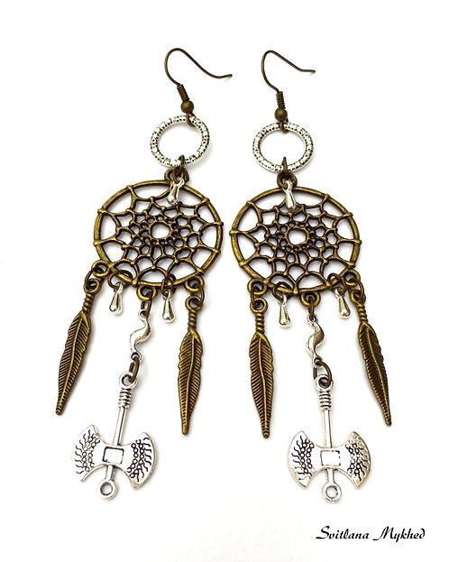 Longues Boucles d'oreilles bronze doré fantaisies style Amérindiens ATTRAPE RÊVES. DREAMCATCHER. TOMAHAWK. PLUMES. AILES