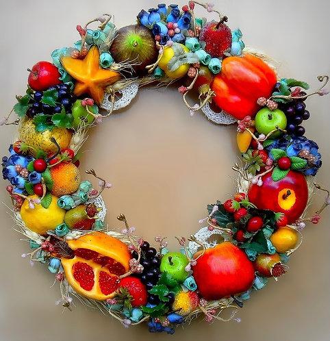 Couronne Composition Fruits Décoration murale cérémonie mariage fête anniversaire fiancé qualité haute gamme exclusive