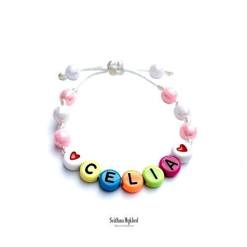 Bracelet personnalisé CELIA avec prénom nom texte Initiale logo