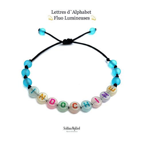 Bracelet personnalisé Perles Alphabet FLUO FLUORESCENT LUMINEUX NÉON (réversible, imperméable) message, surnom, nom, prénom