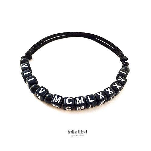 Bracelet personnalisé Chiffres Romains Code Date de naissances mariage baptême bijoux marque