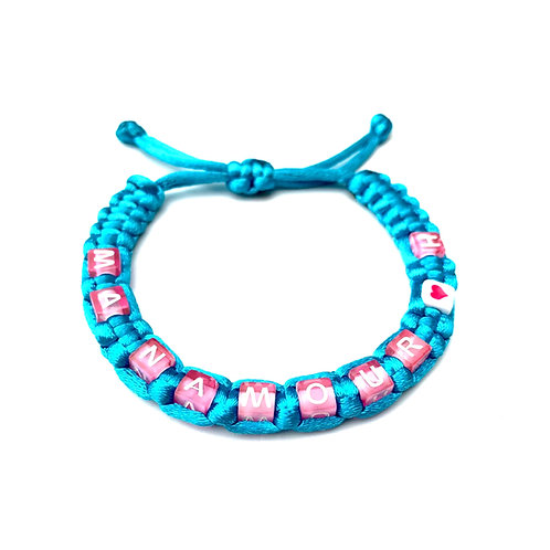 Bracelet MON AMOUR tressé personnalisé  avec prénom message logo