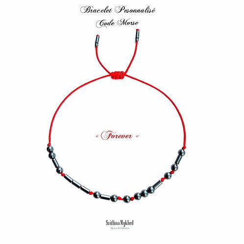 Bracelet personnalisé FOREVER CODE MORSE Pierre Naturelle Hématite noir réversible ajustable réglable avec prénom, texte, log