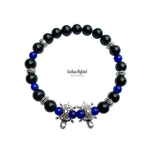 Où acheter Bracelet luxe en pierre naturelle Agate Jade Deux Tortue sur un fil élastique pour Homme Femme Enfant sur mesure