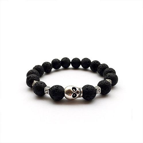acheter Bracelet luxe homme femme pierre naturelle Lave Volcanique noir SCULL TETE DE MORT  squelette bijoux thème gothique