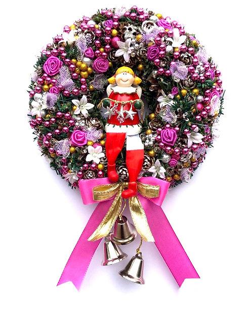 Couronne de l'Avent Noel Pere Noël  couleur Pose Pink décoration porte d'entrée deco mural haute gamme
