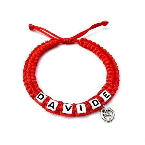 Bracelet tressé DAVIDE PIEDS BÉBÉ NAISSANCE BABY GROSSESSE  à personnaliser avec message prénom