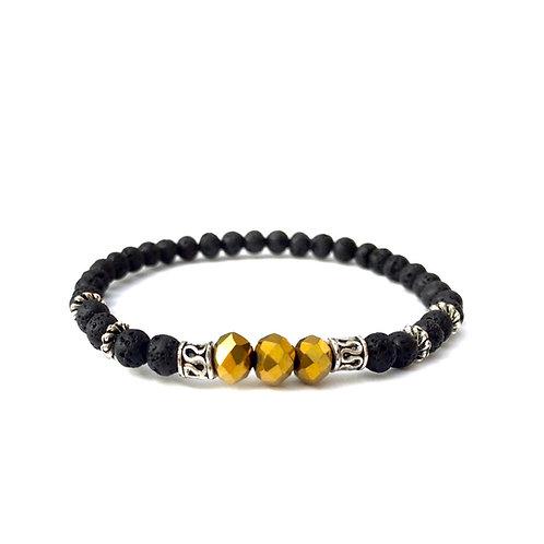 acheter bracelet personnalisé luxe homme femme enfant pierre naturelle lave volcanique cristal doré sur mesure