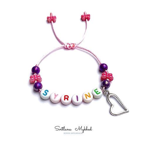 Bracelet personnalisé SYRINE COEUR LOVE avec prénoms nom message  création sur mesure