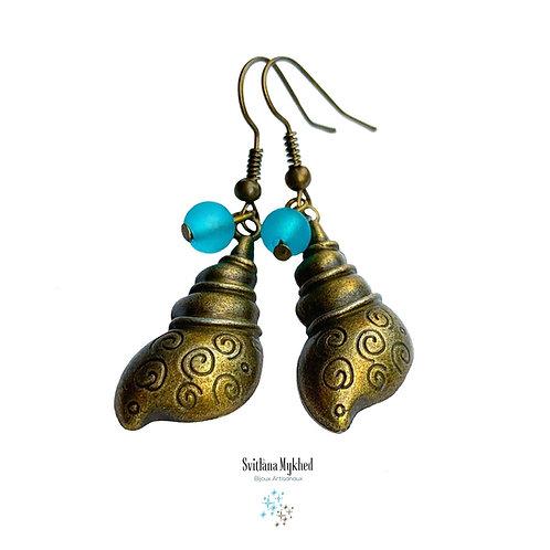 Boucles d'oreilles fantaisies COQUILLAGES COQUILLE MER OCÉAN PLAGE VACANCES style marin décontracté. Metal bronze