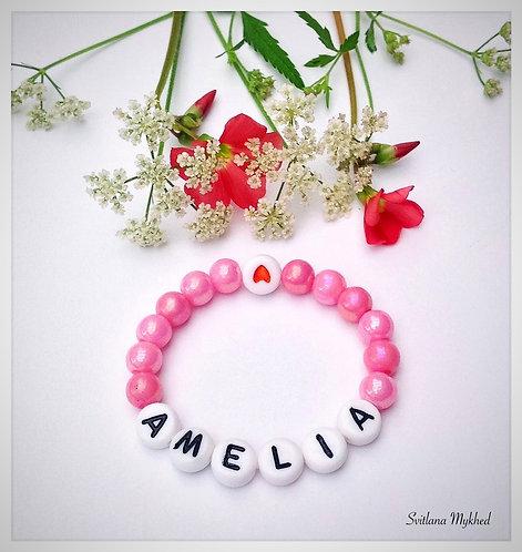 Bracelet AMELIA personnalisé aves prénom texte message initiale logo sur fil élastique