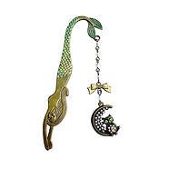 marque pages metal bronze coloré vert sirene  hibou chouette strass