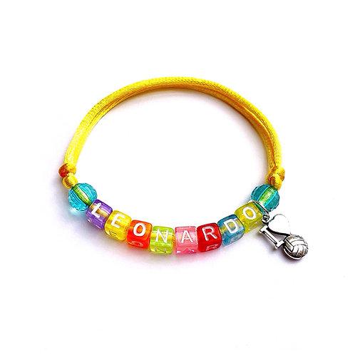 Bracelet  LEONARDO BALLON Foot à personnaliser avec message nom prénom bijoux fantaisie Homme femme enfant sur mesure