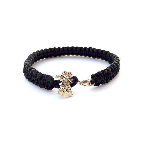 Bracelet tressé personnalisable style amérindien TOMAHAWK. HACHE. ARME cordon satin. Bijoux pour homme femme