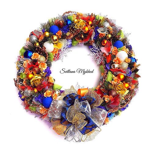 Couronne  Bienvenue florale de l'Avent RÊVES de NOËL. Décoration murale porte d'entrée pour fête Noël