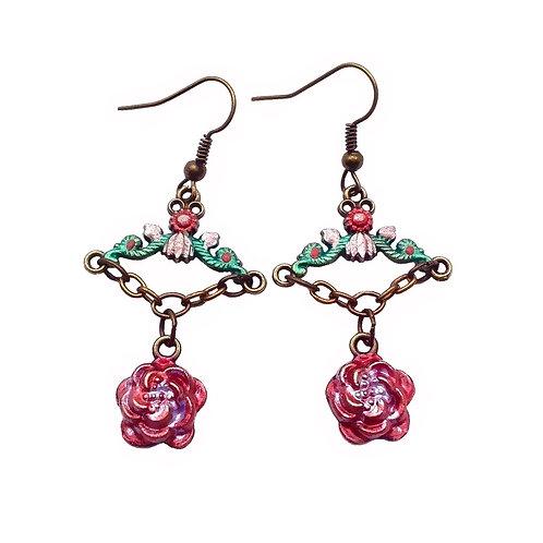 Boucles d'oreilles Roses Fleurs Tibétaines style rétro romantique  bijou artisanal femme haute qualité luxe