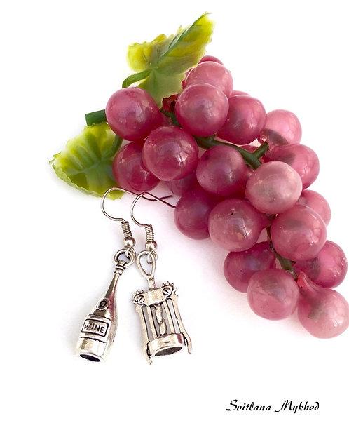 Boucles d'oreilles Bouteille de vin. Tire bouchon. Dégustation