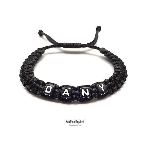 Bracelet DANY cordon personnalisé tressé lettre Alphabet perle cube bijoux homme femme enfant