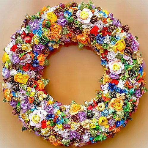 Couronne composition Florale PARADIS DES FLEURS Décoration murale fête mariage