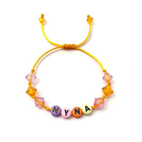 Bracelet NYNA personnalisable avec prénom nom texte Initiale logo message bijoux sur mesure lettre Alphabet acrylique rond