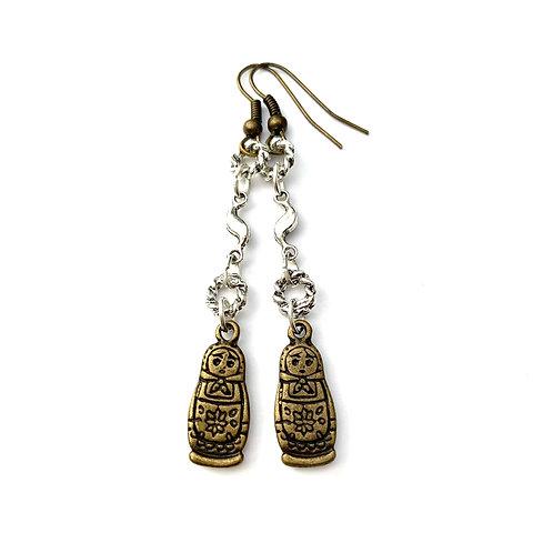 Boucles d'oreilles fantaisies style traditionnelle Russian Slave Matriochka Poupée russe Russia Moscou