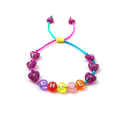 Bracelet personnalisé CHLOE avec prénoms nom message  création sur mesure