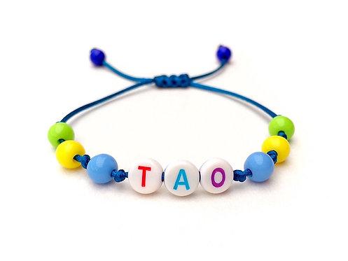 Bracelet TAO personnalisé e avec prénom message texte logo lettre rond alphabet