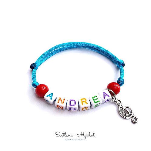 Bracelet  ANDREA clé de sol musique mélodie à personnaliser message nom prénom bijoux fantaisie Homme femme enfant sur mesure