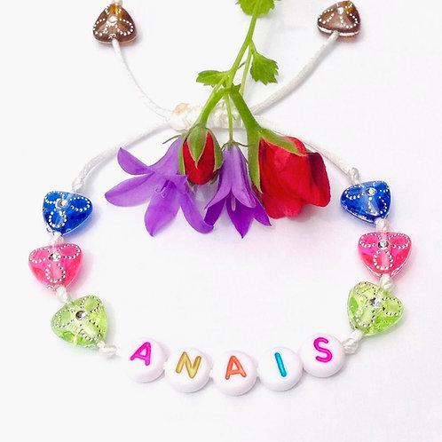 Bracelet personnalisé ANAIS avec prénoms nom message  création sur mesure