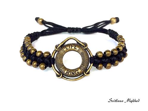 Bracelet style nautique marin LIFE RING. ANNEAU DE SAUVETAGE