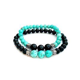 2 bracelets pierre naturelle tourmaline turquoise noir avec peles métalliques  sur fils élastique