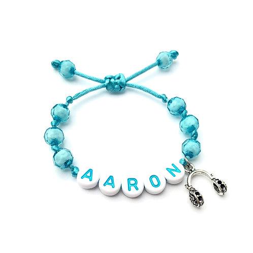 Bracelet personnalisé AARON ECOUTEURS MUSIQUE MELODIE RADIO avec prénoms nom message  création sur mesure