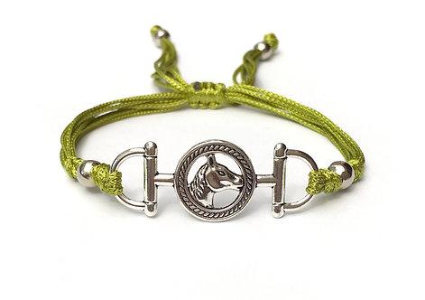 Bracelet cordon vert équitation HORSE. TETE de CHEVAL. AU GALOP. MORS À CHEVAL. CRINS. CAVALIER bijoux fantaisie Personnalisé