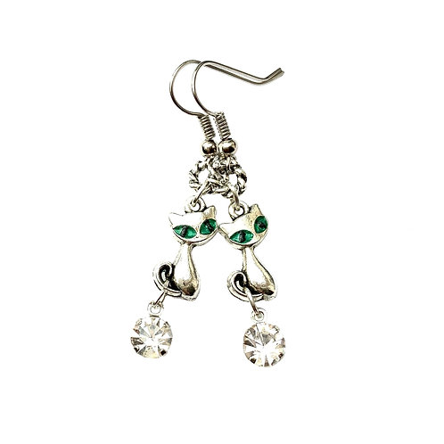 Boucles d'oreilles fantaisie femme fille  CHAT CHATON YEUX verts Strass