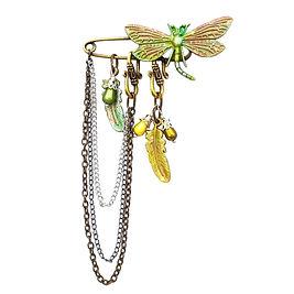 Broche épingle de nourrice libellule metal bronze colorée jaune vert