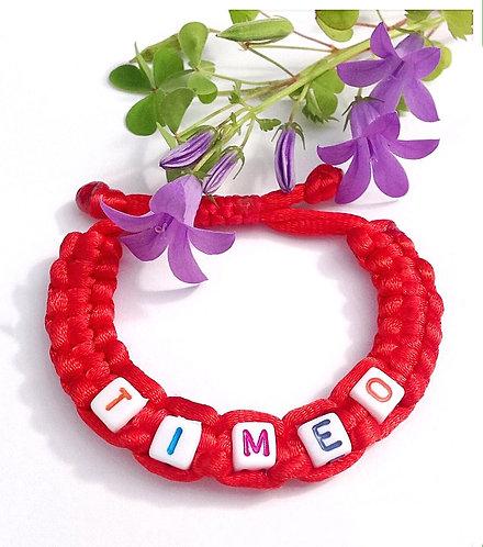 Bracelet TIMEO cordon personnalisé tressé lettre Alphabet perle cube bijoux homme femme enfant