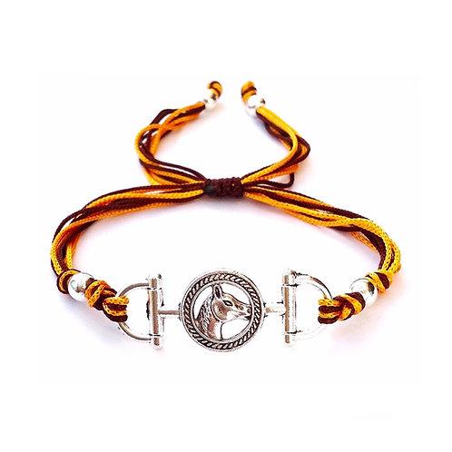Bracelet personnalisé thème équitation HORSE. TETE de CHEVAL. AU GALOP. MORS À CHEVAL. CRINS. CAVALIER cordon satin