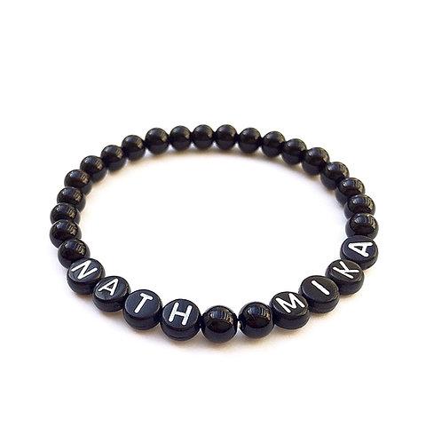 Bracelet pierre naturelle Agate NATH MIKA personnalisé avec prénom message texte