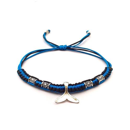 Bracelet à personnaliser pour homme garçon style marin QUEUE DE REQUIN BALEINE OCÉAN. Perles tibétaines. Cordon satin