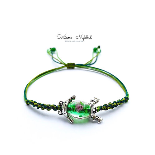 Bracelet luxe amulette porte bonheur Perle Murano GRENOUILLE. FROG. CRAPAUD. MARAIS. COASSEMENT