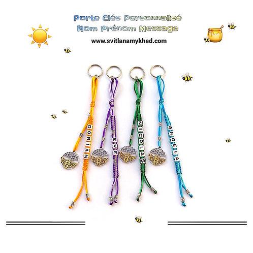 Porte clés bijoux de sac  ABEILLE MIEL RUCHE personnalisé avec prénom nom message logo texte