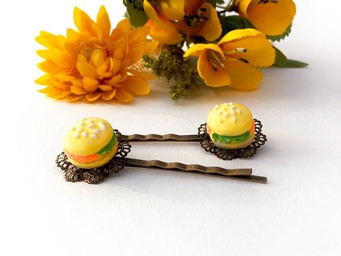 pinces barrettes à cheveux pour petites filles hamburger métal bronze filigranes