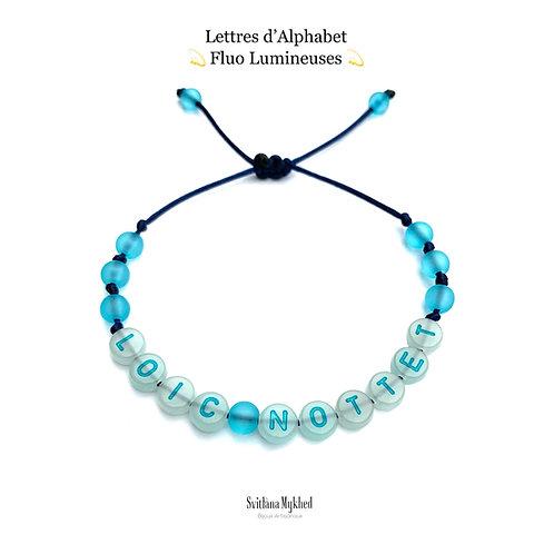 Bracelet personnalisé LOIC Perles Alphabet FLUO FLUORESCENT LUMINEUX NÉON (réversible, imperméable) avec message, surnom, nom