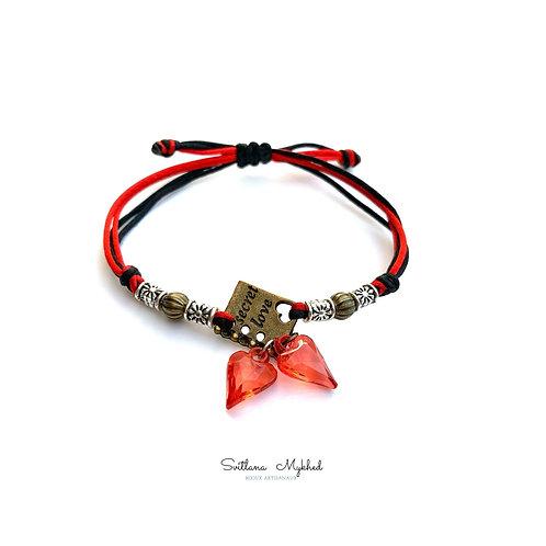 Bracelet personnalisé pour amoureux SECRET LOVE STORY COEUR AMOUR LOVE perles tibétaines; Cordon satin (couleur au choix)