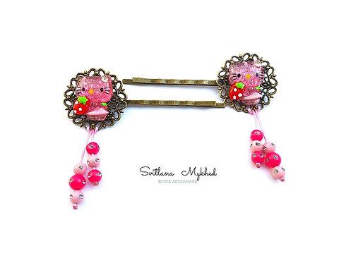 2 barrettes à cheveux pour petites filles CHATON rose métal bronze (filigranes)
