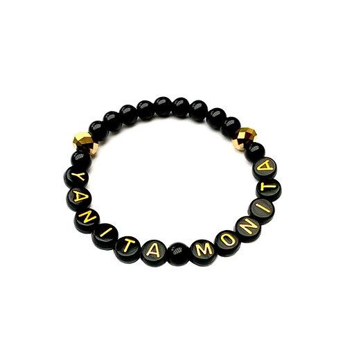 Bracelet  YANITA MONITA pierre naturelle Agate Onyx personnalisé avec prénom message texte