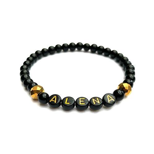 Bracelet ALENA pierre naturelle Agate Onyx personnalisé avec prénom message texte