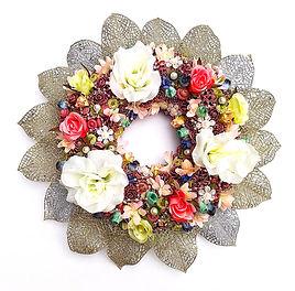 couronne florale bienvenue mariage fête  décoration florale faite sur mesure création unique